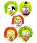 Maschera clown in plastica c/capelli fluo mod. ass. con cartellino/etichetta