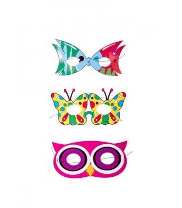 6 mascherine in carta (pesce/gufo/farfalla) in busta c/cav.