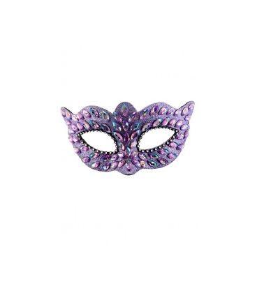 Maschera lilla in plastica con gemme e strass su cartoncino