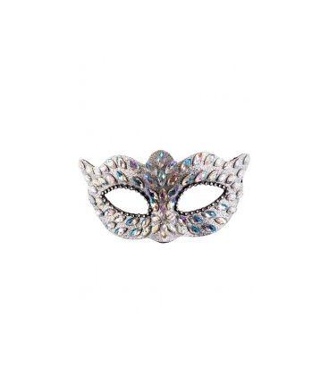 Maschera argento in plastica con gemme e strass su cartoncino