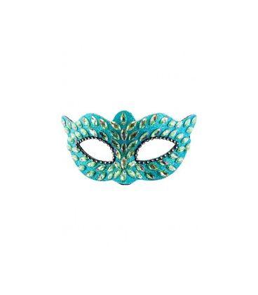 Maschera azzurra in plastica con gemme e strass su cartoncino