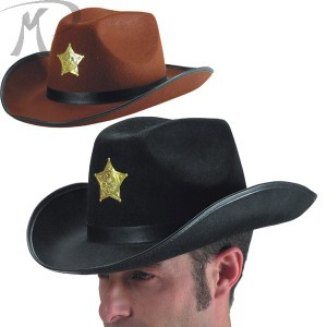 Cappello Sceriffo adulto 2 colori assortiti in feltro Prezzo 5,70 €