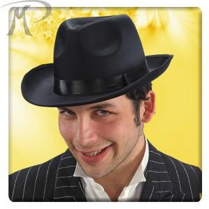 Cappello gangster in raso nero e feltro (taglie adulto assortite) Prezzo 6,30 €