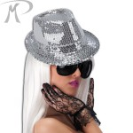 CAPPELLO GANGSTER IN PAILLETTES ARGENTO