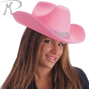 Cappello cow-boy rosa in feltro con passamaneria argento Prezzo 4,80 €