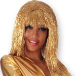 Parrucca Flash lamè lunga oro in busta