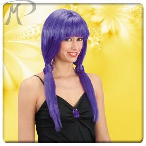 Parrucca viola lunghissima c/frangia e codini in busta