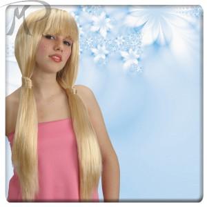 Parrucca bionda lunghissima con frangia e codini Prezzo 13,00 €