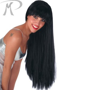 Parrucca Nera lunghissima con frangia in busta
