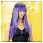 Parrucca viola lunghissima c/frangia in busta