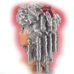 Parrucca Grigia con boccoli in valigetta