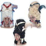 Parrucca Pompadour col. ass. c/decorazioni in valigetta