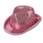 CAPPELLO GANGSTER IN VELLUTO E PAILLETTES ROSA