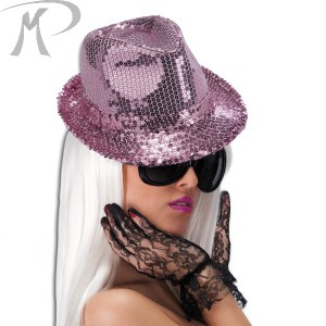 CAPPELLO GANGSTER IN PAILLETTES ROSA Prezzo 7,50 €
