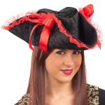 CAPPELLO PIRATESSA IN VELLUTO NERO CON DECORAZIONI ROSSE