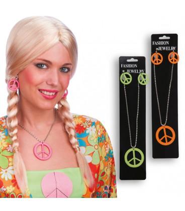 SET PEACE AND LOVE (ORECCHINI E COLLANA) colori assortiti Prezzo 3,30 €