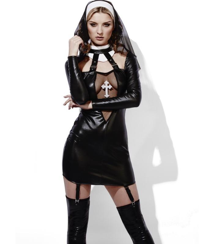 vendita uk negozio del Regno Unito promozione speciale COSTUME SUORA SEXY IN SIMIL LATEX