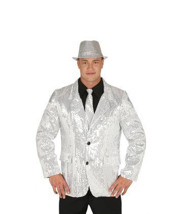 Costumi carnevale Uomo   GIACCA PAILLETTES ARGENTO TAGLIA M Prezzo 30,10 €