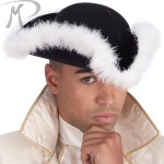 Cappello Tricorno in bifloccato nero con boa
