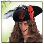 Cappello Pirata Oak in bifloccato c/bandana rossa, piuma struzzo e teschio
