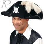 Cappello Pirata in bifloccato c/piuma struzzo