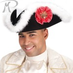 Cappello Tricorno grande in bifloccato nero con boa
