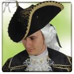 Cappello Lord Nelson in bifloccato con bandana damascata e passamaneria oro