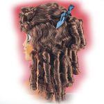 Parrucca Castana con boccoli in valigetta